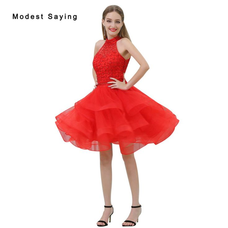 Find More Cocktail Dresses Information about Sexy Red Ball Gown Tiered Short Cocktail Dresses 2017 with Rhinestone Girls Mini Homecoming Prom Gowns vestidos de coctel B028,High Quality short cocktail dress,China cocktail dresses Suppliers, Cheap short cocktails from modest saying Lacebridal Store on Aliexpress.com