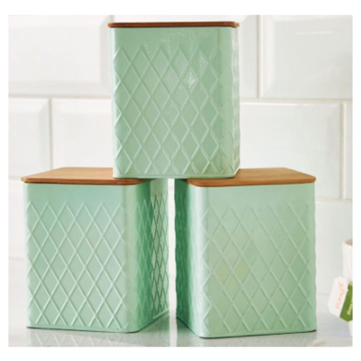 Set Of 3 Mint Green Canisters For Tea Coffee And Sugar Storage