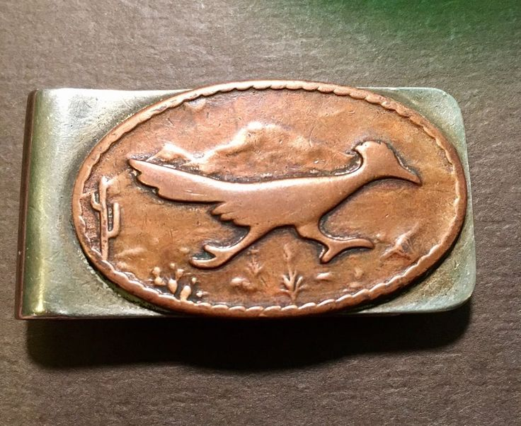 Vintage Bell Trading Post Money Clip Nickel Silver W/ Copper Road Runner  | eBay