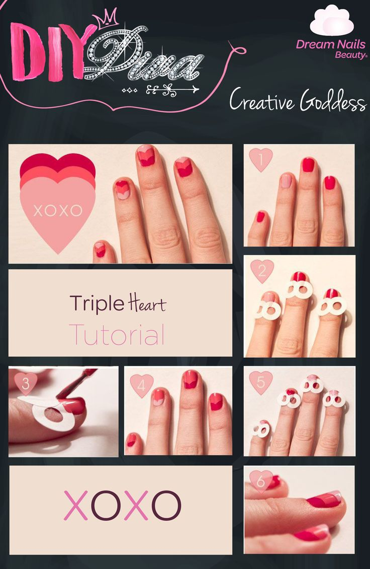 Nail kisses from us to you! Get into the spirit of love with this amazing xoxo Nail art tutorial. #XOXO #TripleHearts #Love #NailArt #DivaNails
