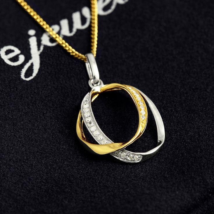 9ct Gold 2 Tone Interlocking Circle Of Life Diamond Pendant $178 - Purejewels.com.au