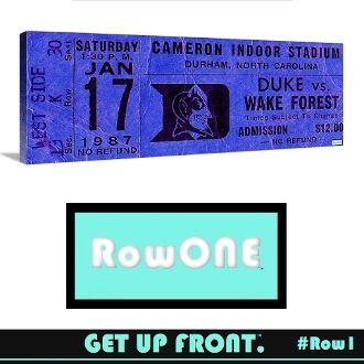 Row One Brand, Row One ticket art, Row One vintage sports art, Row One vintage ticket art, Duke Basketball man cave décor, vintage Duke basketball art, Row One vintage sports gifts