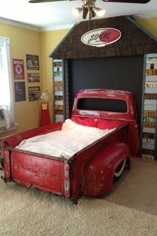 Eclectic Kids Bedroom with Window seat, Crown molding, Ceiling fan, Carpet, 1953-1956 f 100 short box flareside bedwood set