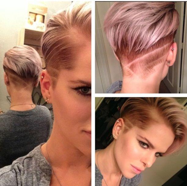Short, shaved sides, pink hair <3