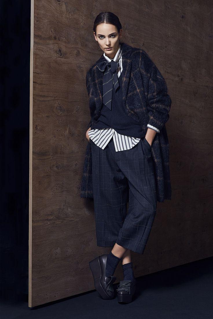 Brunello Cucinelli, Look #6 Plaid on stripe on wide leg plaid