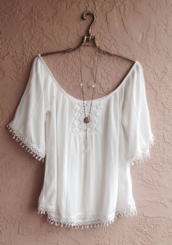 White Gauze off shoulder beach top bohemian gypsy by BohoAngels, $45.00