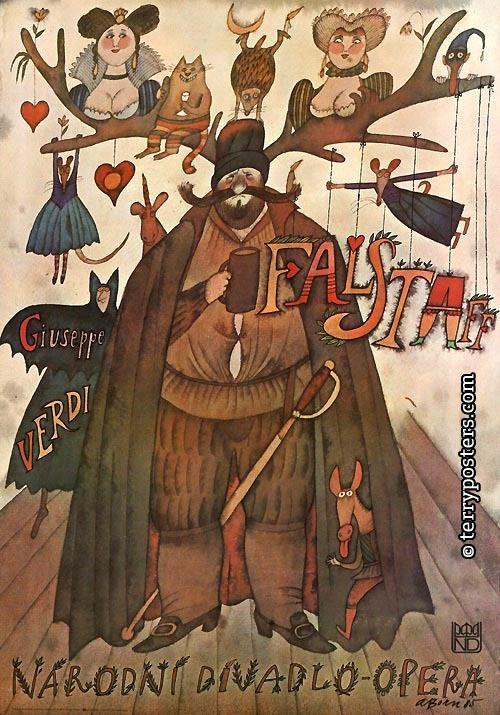 Opera poster by Adolf Born, 1 9 8 5,  Opera Falstaff, Guiseppe Verdi.
