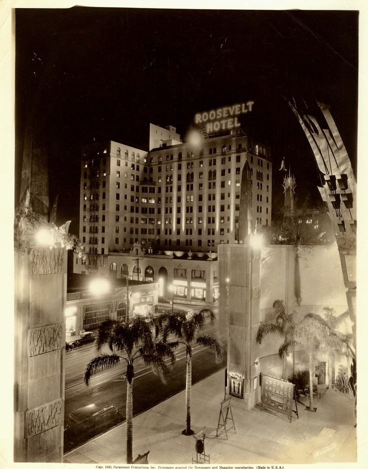 Vintage 1933 Roosevelt Hotel Hollywood at Night Chinese Theater Photo | eBay