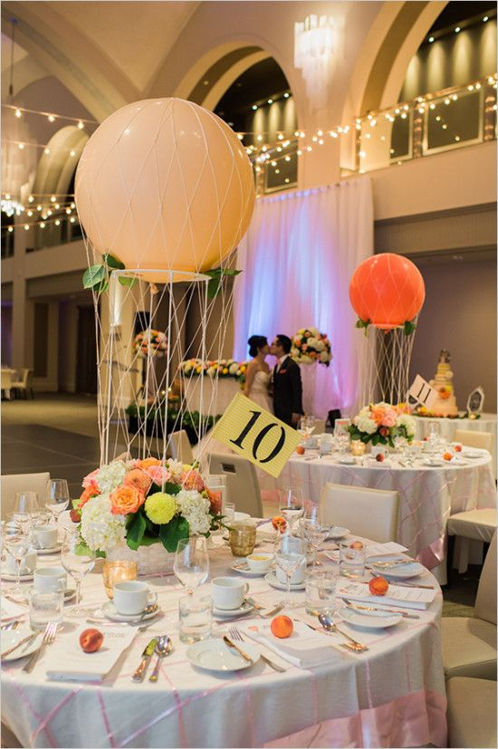Bicycles And Balloons Wedding In Peach Reception Decor Pinterest