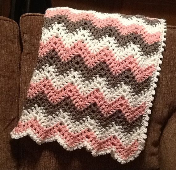 Crochet Baby Blanket Pattern Girl : Baby girl, chevron, ripple, baby, crochet blanket, afghan ...