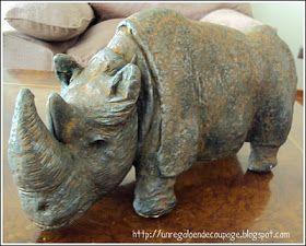 Este rinoceronte de ziña hace tiempo que lo quería hacer, hasta que fui a una feria de manualidades y lo hice .... me encanta !!!.  Es una ...