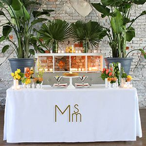 Folding Table + Monogrammed Tablevogue = Tropical Modern Sweetheart Table