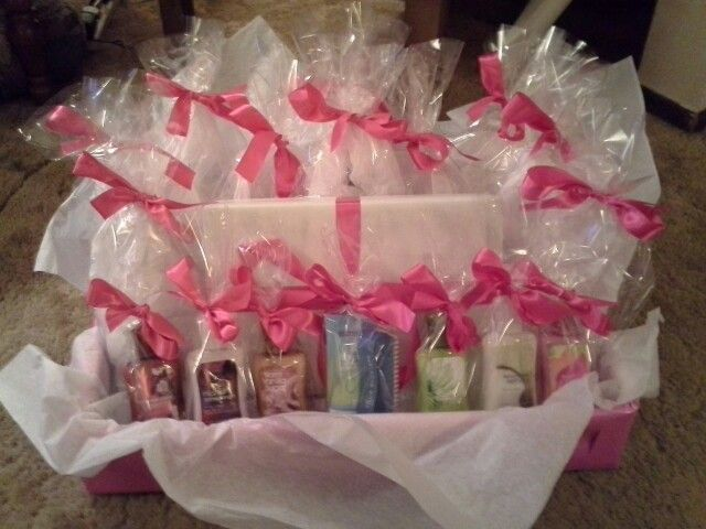 "This was the ""prize station"" I made for baby shower game winners! But use blue for boy"