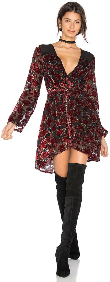 Band of Gypsies Burnout Floral Wrap Dress