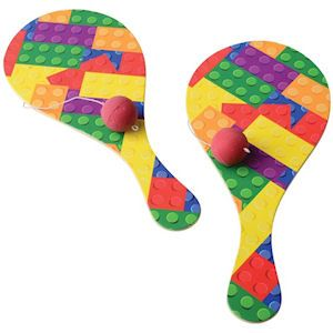 BLOCK MANIA PADDLE BALLS. With images of kid's favorite building blocks, they will have hours of fun with this classic toy. Each polybagged w/header. Perfect for Christmas stocking stuffers, party favors or Easter basket treats. Size 9 Inches, packaging 11 X 5 Inches