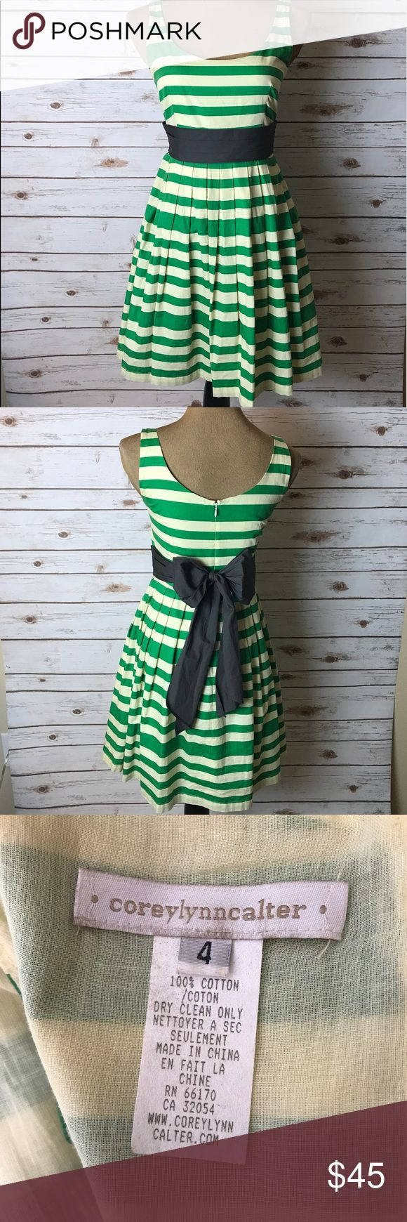 Anthropologie Corey Lynn Calter Striped Dress Anthropologie Corey Lynn Calter Sun Dress  Size: 4  Color: Green, Ivory, Dark Grey  Pattern: Striped  Style: Tea Dress, Fitted Waist, Attached Tie Waist, Above Knee, Scooped Neckline, Thin Straps  Fabric: 100% Cotton  Care: Dry Clean Only  Condition: Preowned and in great condition  Imported   ****Comes from a smoke free & clean environment. Anthropologie Dresses Midi
