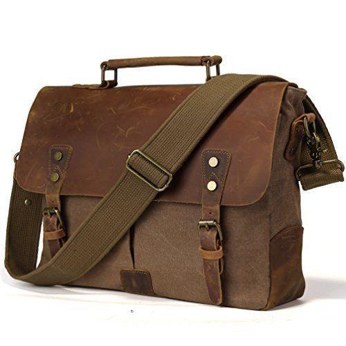 Laptop Bag Retro Vintage Canvas Leather Messenger Carrying Case For Macbook Pc  #LaptopBag