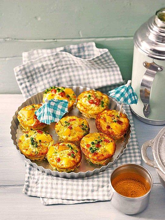 Tortilla - Muffins mit Kartoffeln, Erbsen und Schinken