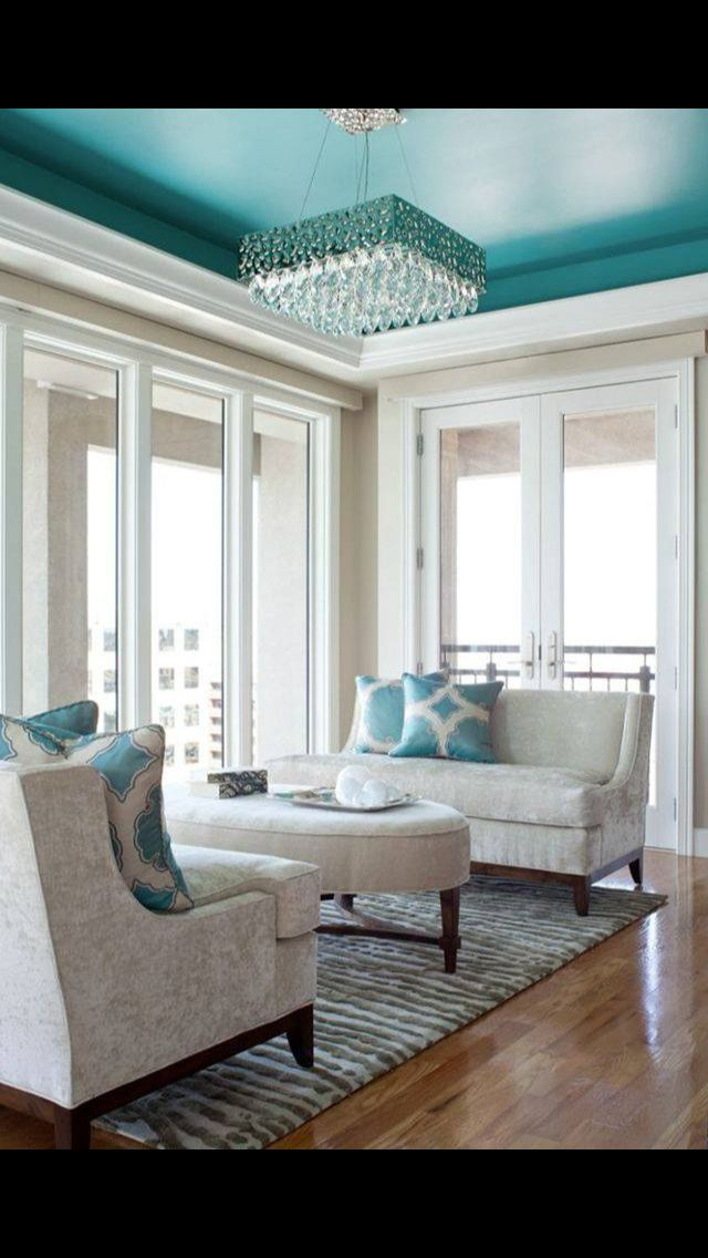This is a #beautiful, and can change w/ a simple twist of #color. It can become more #masculine (even w/ this color scheme), simply using #charcoal #grey on the ceiling and an extra throw pillow in that same shade. Or add #whimsy with a touch of #yellow.  Tufenkian has a rug that can help pull off this look named Streets of Paris.  (Picture Courtesy of High Fashion Home)