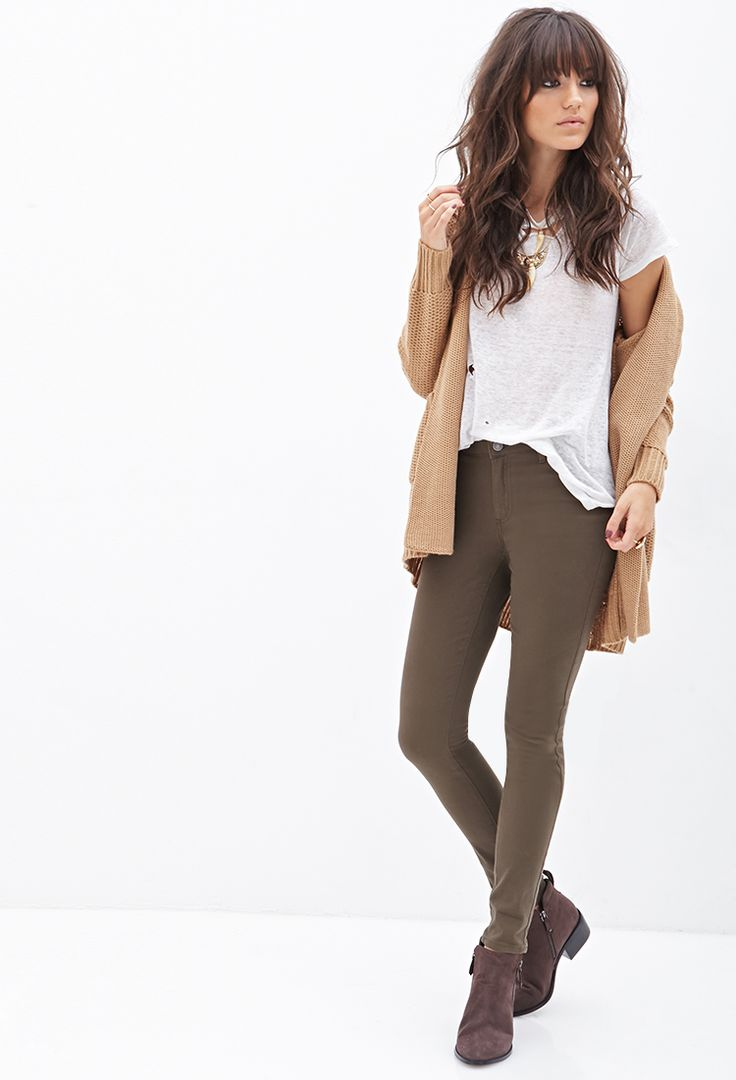 Mid-Rise - Skinny Jeans | Forever 21 - 2055879388. Get these pieces for fall. Green pants. Camel knit cardigan