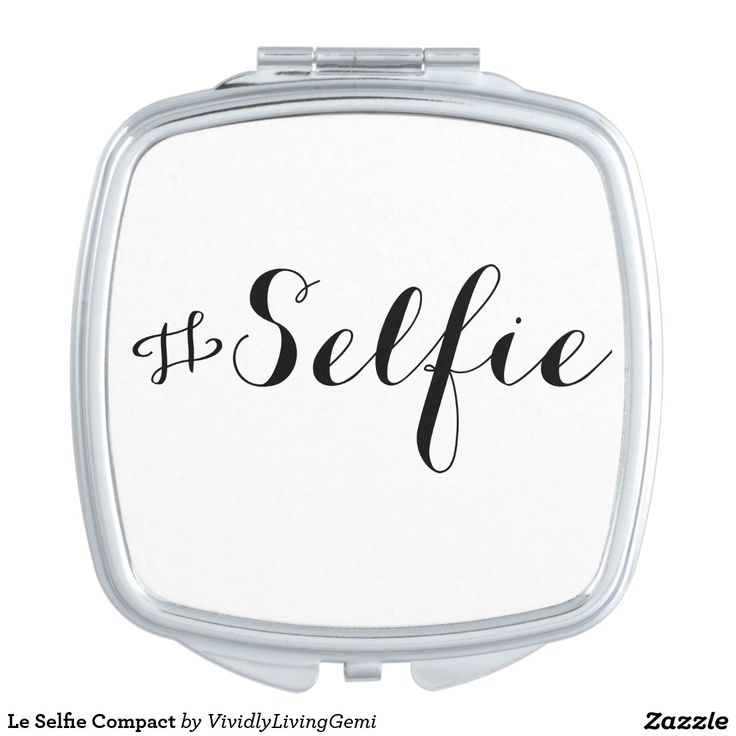 Le Selfie Compact Mirror.  Travel mirror, make up mirror.  Simple but elegant text design.