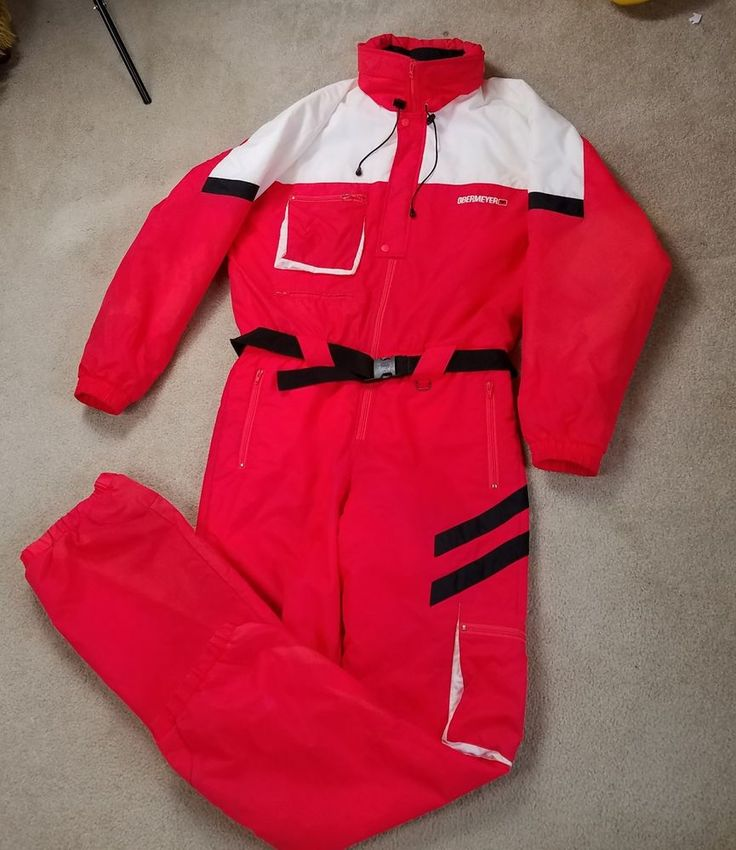 VINTAGE MENS ONE PIECE SKI SNOW SUIT SIZE XL OBERMEYER BRIGHT Neon Red!  | Sporting Goods, Winter Sports, Clothing | eBay!