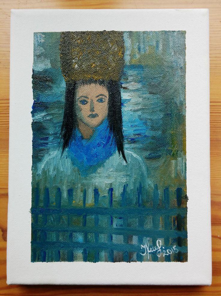 Woman. By Ieva Krivma. Oil, 22x16 cm. Canvas