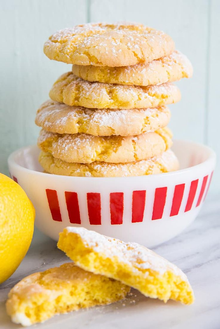 Lemon Crinkle Cake Mix Cookies from @kitchenmagpie