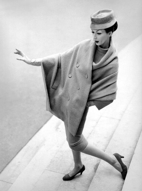 Photo by Richard Avedon, Paris 1955 wrap suit dress 50s designer button skirt shawl 50s