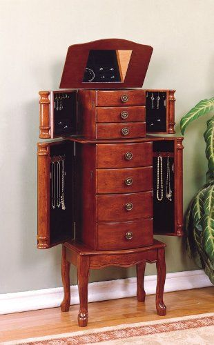"http://103rdavenue.com/powell-classic-cherry-jewelry-armoire/ Classically shaped freestanding jewelry armoire features cherry veneer with ""Classic Cherry"" finish. There are 3 small curved drawers, 2 large curved drawers, and 1 curved door cabinet that are perfect for storing a variety of jewelry and accessories. The 1st small drawer has 9 squares and all other drawers are open and fully lined in 100% plush black rayon. The top lid lifts open to r...: Jewelry Armoires, Cabinets Storage, Classic Cherries, Cabinets Cabinets, Chest Boxes, Powell Classic, Cherries Jewelry, Cherries Woods, Jewelry Boxes"