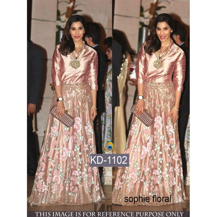 Sophie Chaudhary Glorious Anarkali Style Art Silk Semi-Stitched Gown at just Rs.2600/- on www.vendorvilla.com. Cash on Delivery, Easy Returns, Lowest Price.