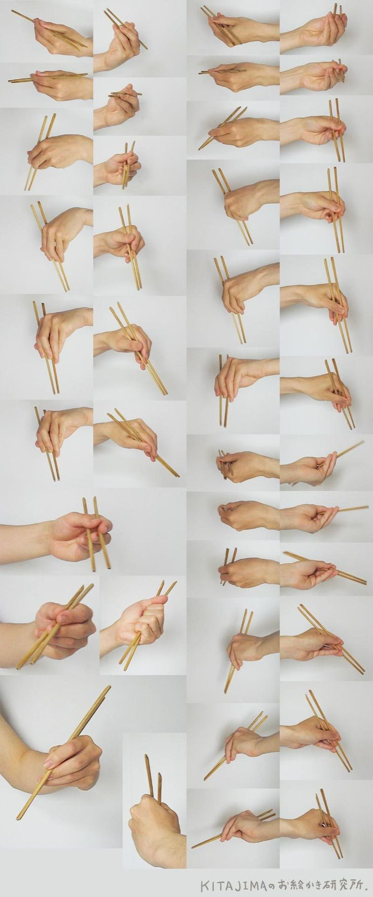 Use chopsticks with left hand
