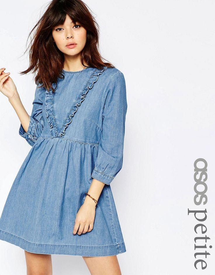 Image 1 - ASOS PETITE - Robe tunique en jean à volants - Bleu moyen