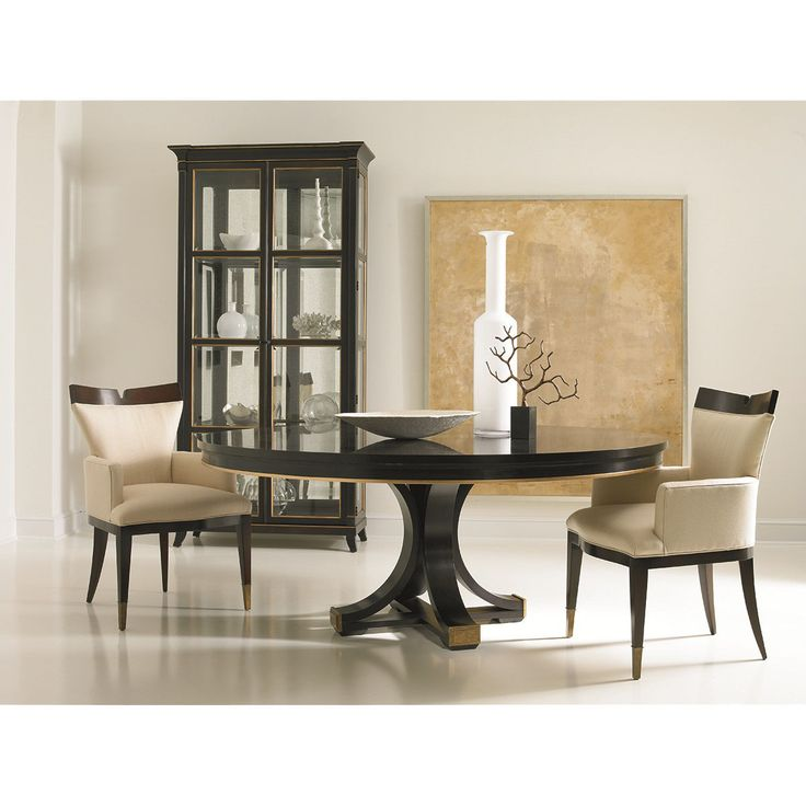 Hickory White Celia Pedestal Base And Walnut Top Dining Table