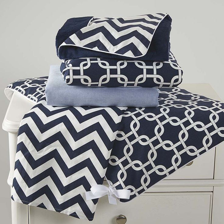 Compass Navy 5 Pc Crib Bedding Set By Bassett Furniture