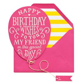 Sugar Paper, Los Angeles - balloon shaped birthday greetings in pink with adorbs yellow stripe envelope liner!