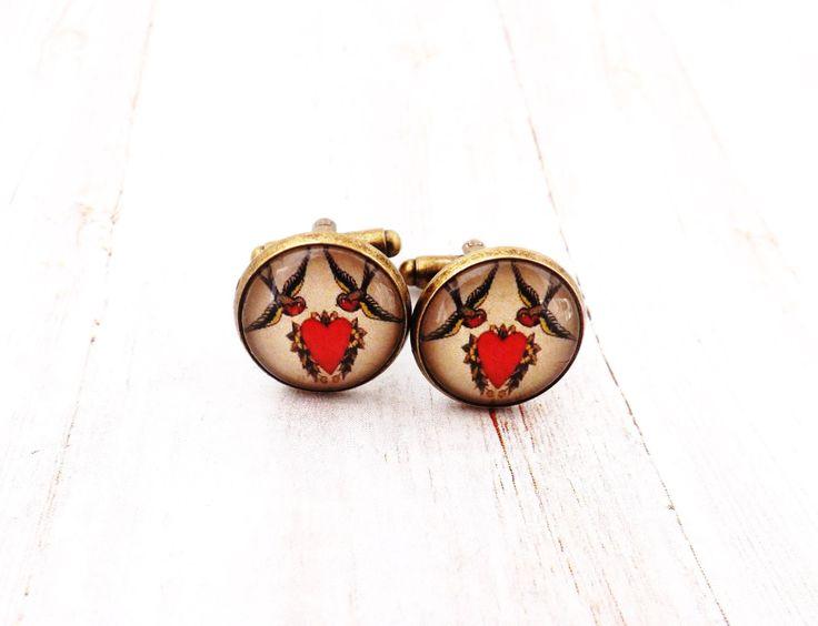 Swallows and Heart Pinup Rockabilly Men's Cufflinks