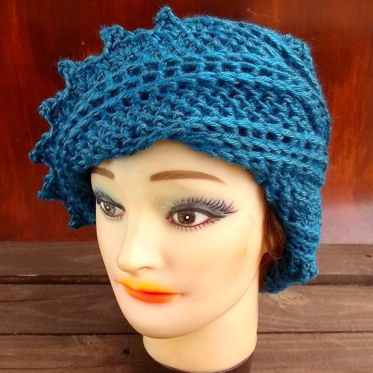 Crochet Hat Womens Hat LAUREN Steampunk Hat Crochet Beanie Hat Ocean Blue Hat by strawberrycouture on Etsy 40.00 USD
