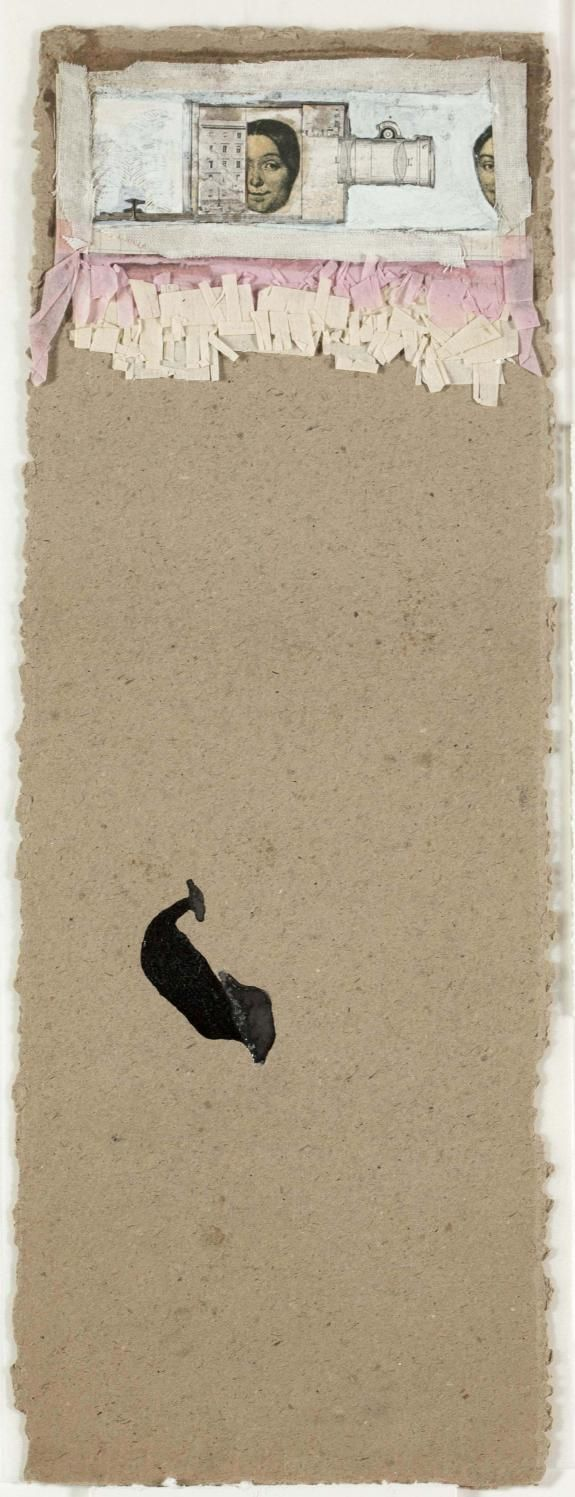 Robert Rauschenberg - c.1952, Untitled [face in bottle] Collage: engravings, gouache, fabric, fringed tissue paper, cut paper, pencil, enamel, and glue on paper, mounted on paperboard (35.6 x 12.7 cm)