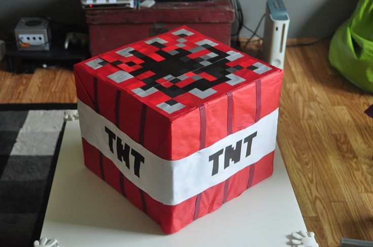 Diy Tnt Minecraft Box Minecraft Party Pinterest