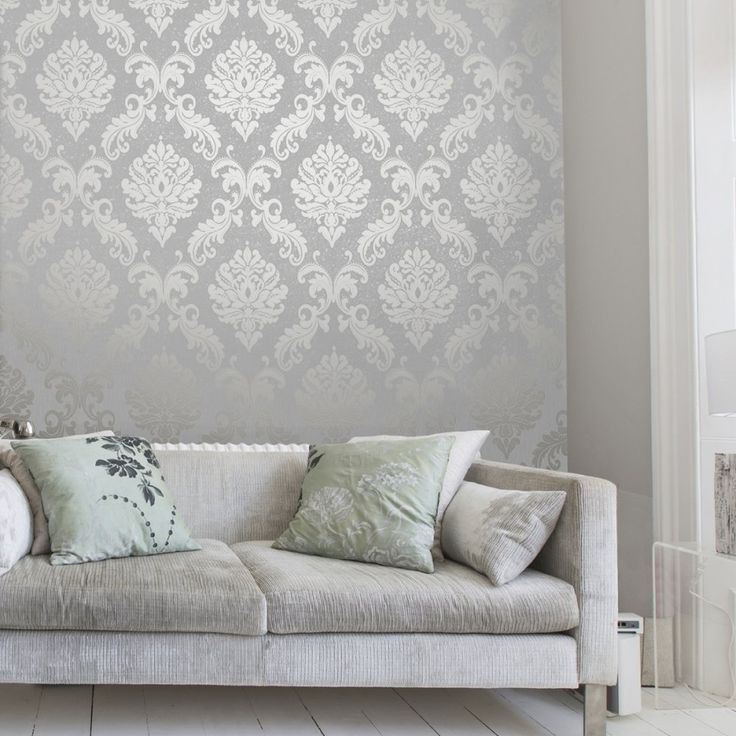 Henderson Interiors Chelsea Glitter Damask Wallpaper Soft Grey / Silver (H980504) - Wallpaper from I love wallpaper UK