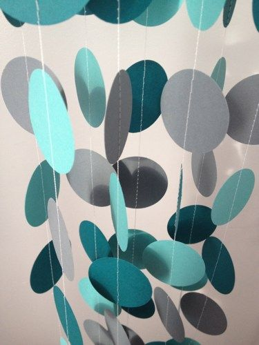 Teal, Light Teal, Gray 12 ft Circle Paper Garland- Party Decorations, Birthday, Wedding, Bridal Shower, Baby Shower
