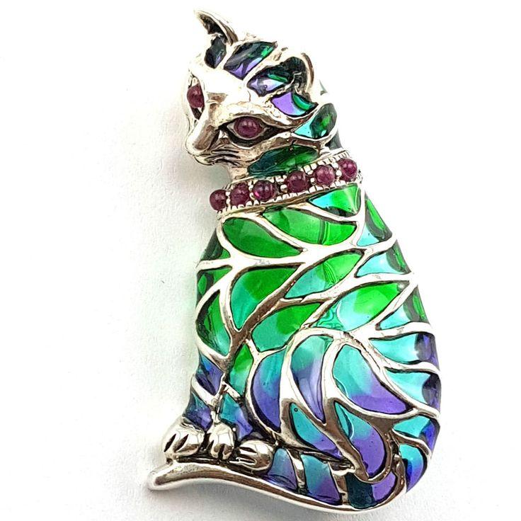 ART NOUVEAU PLIQUE A JOUR CAT PENDANT BROOCH RUBY EYES SUFFRAGETTE 925 SILVER in Jewellery & Watches, Fine Jewellery, Fine Necklaces & Pendants | eBay