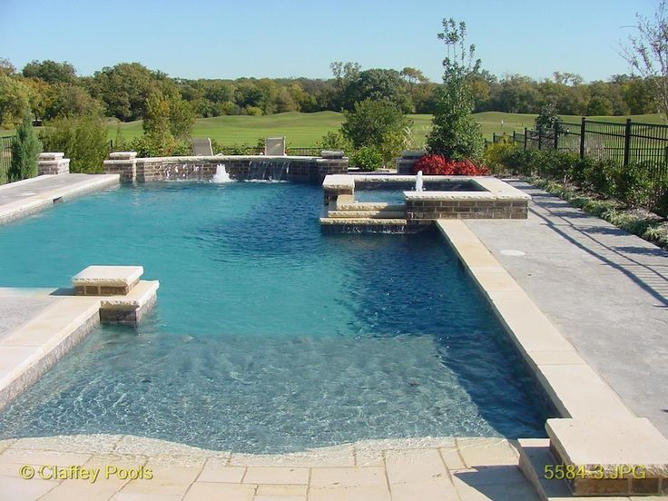 1009 best images about pools on pinterest pool houses mansions and swimming pool designs Beach entry swimming pool designs