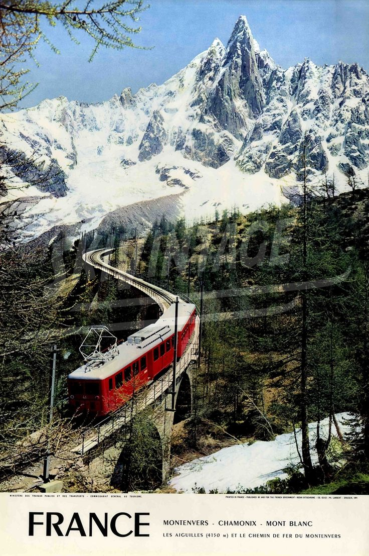 Sites et paysages de France - Chemin de fer du Montenvers à Chamonix - Affiche originale par Lambert