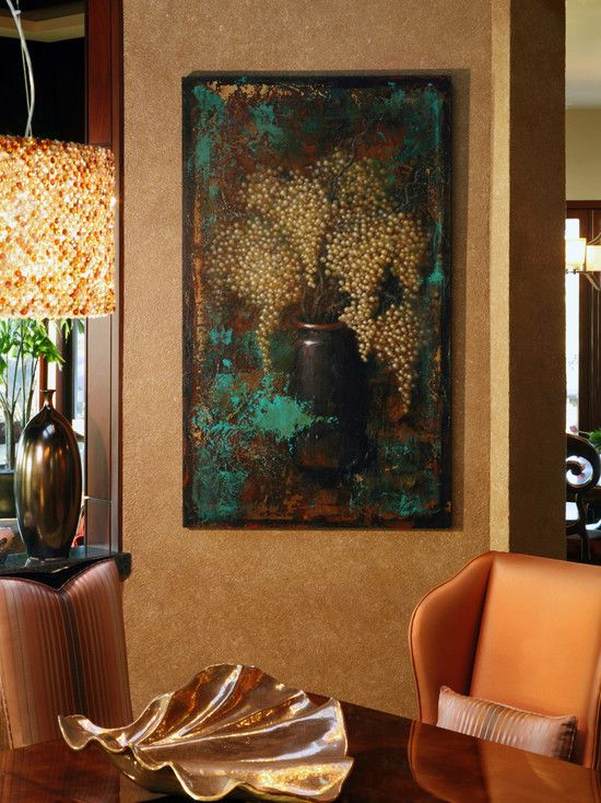 Fabulous Dining Room Details With Exquisite Chandelier And Shell Plate  Artistic Wall Painting Ritz Cove Remodel