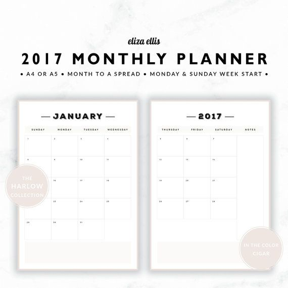2017 A4 & A5 MONTH TO A PAGE LANDSCAPE CALENDAR - THE HARLOW PLANNERS IN CIGAR  Youll love this month to a spread planner! The vertical orientation means it fits seamlessly into your planner, and the classic, spacious design means youll have loads of room for all those birthdays, anniversaries and events!  > SPEND $20 AND GET 20% OFF!!! JUST USE CODE PERFECTPLANNER  > FEATURES  ▪️ both monday and sunday week start versions included ▪️ classic style :black_sma