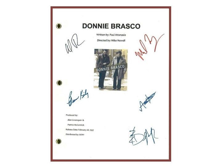 Donnie Brasco 1997 Movie Script Signed Screenplay Autographed: Al Pacino, Johnny Depp, Michael Madsen, Bruno Kirby, Anne Heche