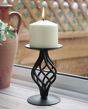 Black Twist Stem Wrought Iron Metal Church Pillar Candle Holder Stand