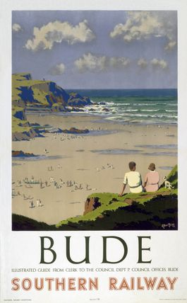 Poster produced for Southern Railway to promote rail travel to Bude in Cornwall. Artwork by Herbert Alker Tripp (1883-1954), who had a long and successful career with New Scotland Yard, painting in his spare time and after his retirement. He designed posters for SR and Great Western Railway (GWR) and was knighted in 1945.